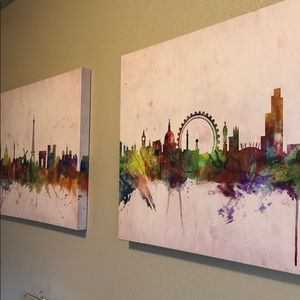 Large Set of 3 Canvas of LONDON PARIS NEW YORK.